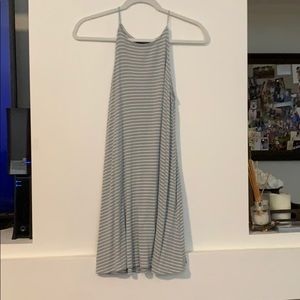 Green and white stripped halter dress
